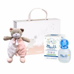 Pachet Mustela roz: Apă parfumată Musti 50ml + Urs Musti + Cutie cadou